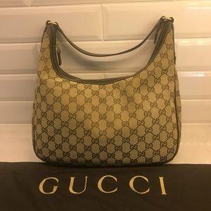 Gucci Charmy Monogram Brown Hobo Handbag